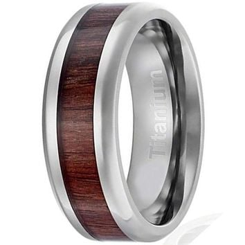 CERTIFIED 8MM Men's Titanium Ring Wedding Band | Dark Wood Inlay | Beveled Edges