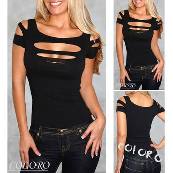 Elegant Womens Ripped Sexy Slashed Black Tight Hole T Shirt