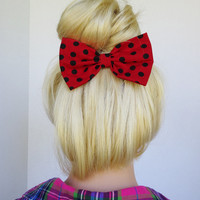 Hair Bow Clip - Red With Black Polkadots