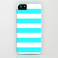 Ocean Blue and White Stripe. FREE SHIPPING PROMOTION Thru MARCH 9th - (Click URL in Description) iPhone & iPod Case by KrashDesignCo.