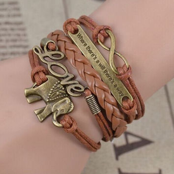 NEW Retro Infinity Elephants Love Charm Bracelet Plated Bronze HOT