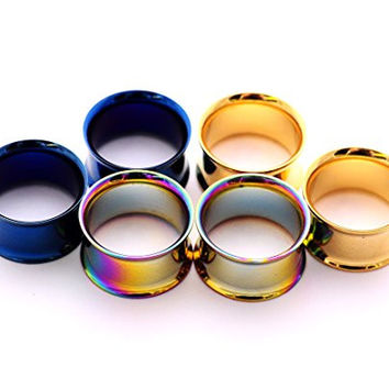 "Set of 3 Pairs Steel Double Flare Tunnels - 7/8"" - 22mm - (Blue, Gold, Rainbow)"
