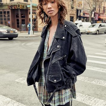 Free People Oversized Denim Moto Jacket