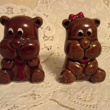 Vintage Salt And Pepper Shakers, Collectible Teddy Bear Shakers