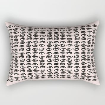 Pink Black Wall Art, Eyes Pattern, Vanity Decor, Modern, Pattern, Pop Art Rectangular Pillow by PeachAndGold