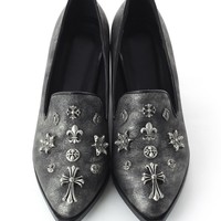 Metal Embellished Matte Leather Loafers