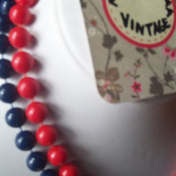 2 Vintage Patriotic Red and Blue Plastic Bead Necklaces