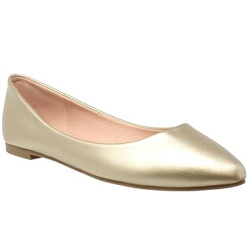 Womens Ballet Flats Pointed Toe Slip On Cushioned Closed Toe Shoes Gold