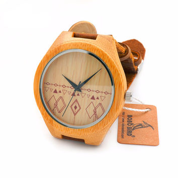 Bobo Bird  Bamboo Watch with Genuine Cowhide Leather Band and Wood Gift Box