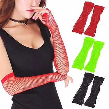 1 Pairs New Crochet Lace Punk Gothic Disco Costume Long Fishnet Dance Mesh Fingerless Gloves Three Pure Colors