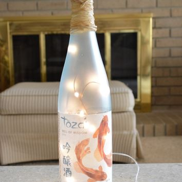 Frosted Light Blue Glass Fairy Bottle Light With Koi Fish Label