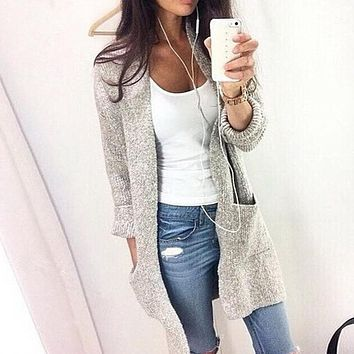 Women Long Sleeve Loose Knitted Cardigan