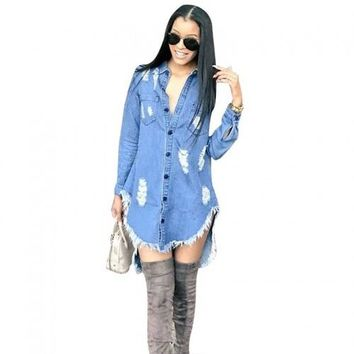 Shredded Tassel Irregular Denim Dress