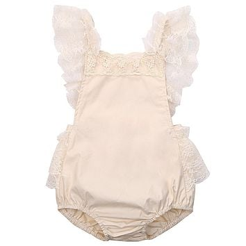 Cute Floral Toddler Baby Girls Romper Sleeveless Cotton Lace Ruffle Jumpsuit Sunsuit Clothes