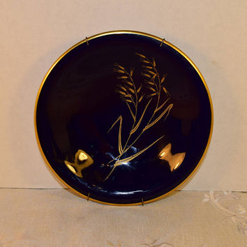 Bavaria Echt Cobalt Blue Plate Vintage Goldhafer Pattern with Wall Hanger 24 Carat Gold Hard to Find China Rare Replacement China