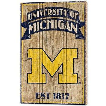 "MICHIGAN WOLVERINES EST 1817 VINTAGE WOOD SIGN 15""X24'' BRAND NEW WINCRAFT"
