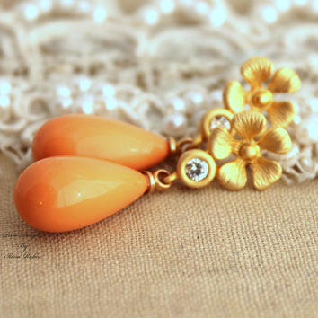 Orange salmon coral gold flower pearl Classic elegant chic earrings - 14K Gold plated earrings with whit Majorica perfect teardrop pearl.