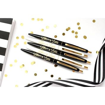 Like A Boss Pens in Black and Gold - Set of 5