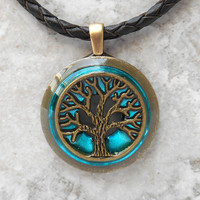 tree of life necklace: bright blue - tree necklace - men necklace - leather necklace - mens jewelry - celtic jewelry - boyfriend gift