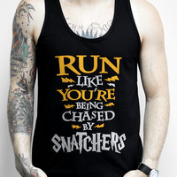 Run Like You're Being Chased by Snatchers, Black Unisex Tank Top - Nerdy Running Tank Top, Harry Potter, fan, fitness, shirts, apparel,