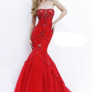 Strapless Fitted Bodice Embellished Evening Sherri Hill Dress 32237
