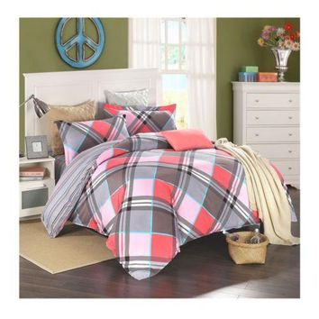 Bed Quilt Duvet Sheet Cover 4PC Set Upscale Cotton 100% 005