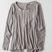 AEO Feather Light Twist Back Sweater , Light Grey