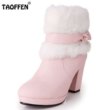 Gladiator Snow Boots High Heels Pointed Toe Women Boots Winter Solid Bowknot Platform Wedding Ankle Boots Size 33-39