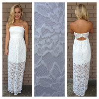 Lace Scallop Maxi Dress - IVORY