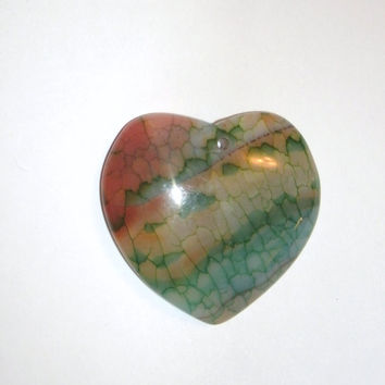 Dragon Vein Agate Heart Pendant Bead - multi colored and gorgeous!, pendant beads, agates, OOAK rocks, pendant supply, designer pendant bead