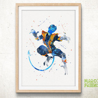 Beast, X-Men - Watercolor, Art Print, Home Wall decor, Watercolor Print, Super Hero Poster