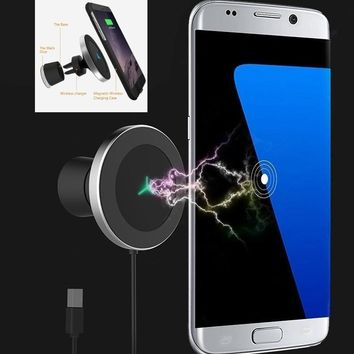 Wireless 360 Rotating Magnetic Phone Mount Car Charger