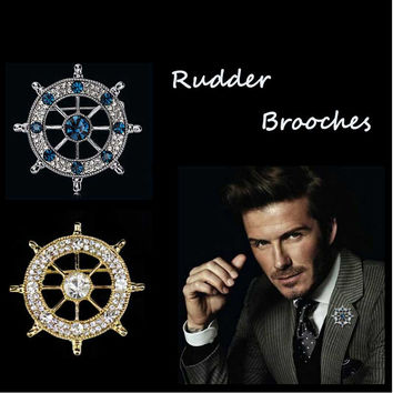 Retro Rhinestone Rudder brooches for men suit
