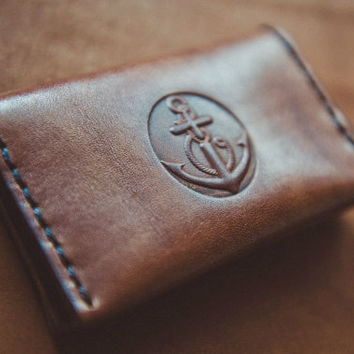 Leather card holder.  Handmade Genuine leather case, men's slim wallet, Brown Black  leather, men's gift.