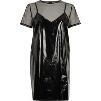 Black vinyl and mesh T-shirt dress - Dresses - Sale - women
