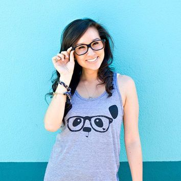 Nerdy Panda Tank  Heather Grey by steppie