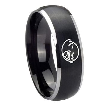 8MM Matte Brush Black Dome Mario Boo Ghost 2 Tone Tungsten Laser Engraved Ring