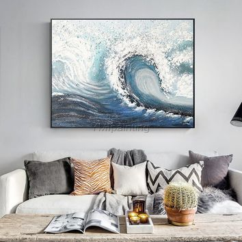 Modern art Abstract paintings on canvas art oil blue painting original sea waves texture heavy large wall art home decor cuadros abstractos