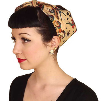 Tan Tattoo Print Fabric Head Wrap Scarf