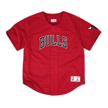 Mitchell & Ness NBA Chicago Bulls Mesh Front Button Jersey in Scarlet