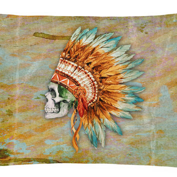 Day of the Dead Indian Skull  Canvas Fabric Decorative Pillow BB5127PW1216