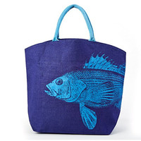 Oceanus Large Jute Tote Bag (Fish A)