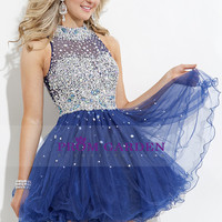 2015 High Neck Tulle Beaded Homecoming Dress A-Line Short With Fish Line $178.49 PGNPDDM2PTX - PromGarden.com