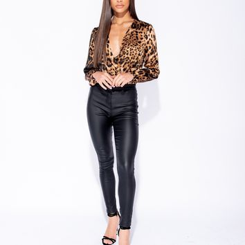 Leopard Print Wrap Over Long Sleeve Bodysuit PRE-ORDER