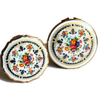 PAIR Stratton Compacts Mint Vintage Unused Enamel Colourful China Mirror/Powder Compacts Accessories Bath & Beauty Cosmetics Gift for Her