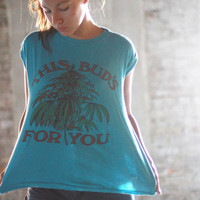 80s this BUD'S FOR YOU / medium / / sleeveless / hippie / pot leaf / blue / festival wear / fest wear / unisex / marijuana