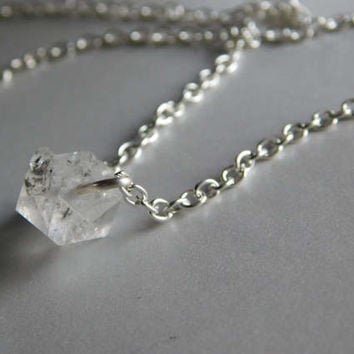 Herkimer Diamond Necklace *  Single herkimer necklace * Dainty Herkimer Necklace * April Birthstone * Rough Gemstone *  Raw Stone *
