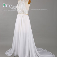 White Halter Beading Belt Lace Prom Dress/Simple White Lace Wedding Dress/Chiffon See Through Prom Dress/White Lace Prom Dress DH403