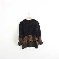 Vintage oversized sweater. Navy,Burgundy and Olive classic snowflake pattern. Crewneck. Pullover. WOOL. Large