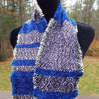 Unique Blue Scarf with a Touch of Shine